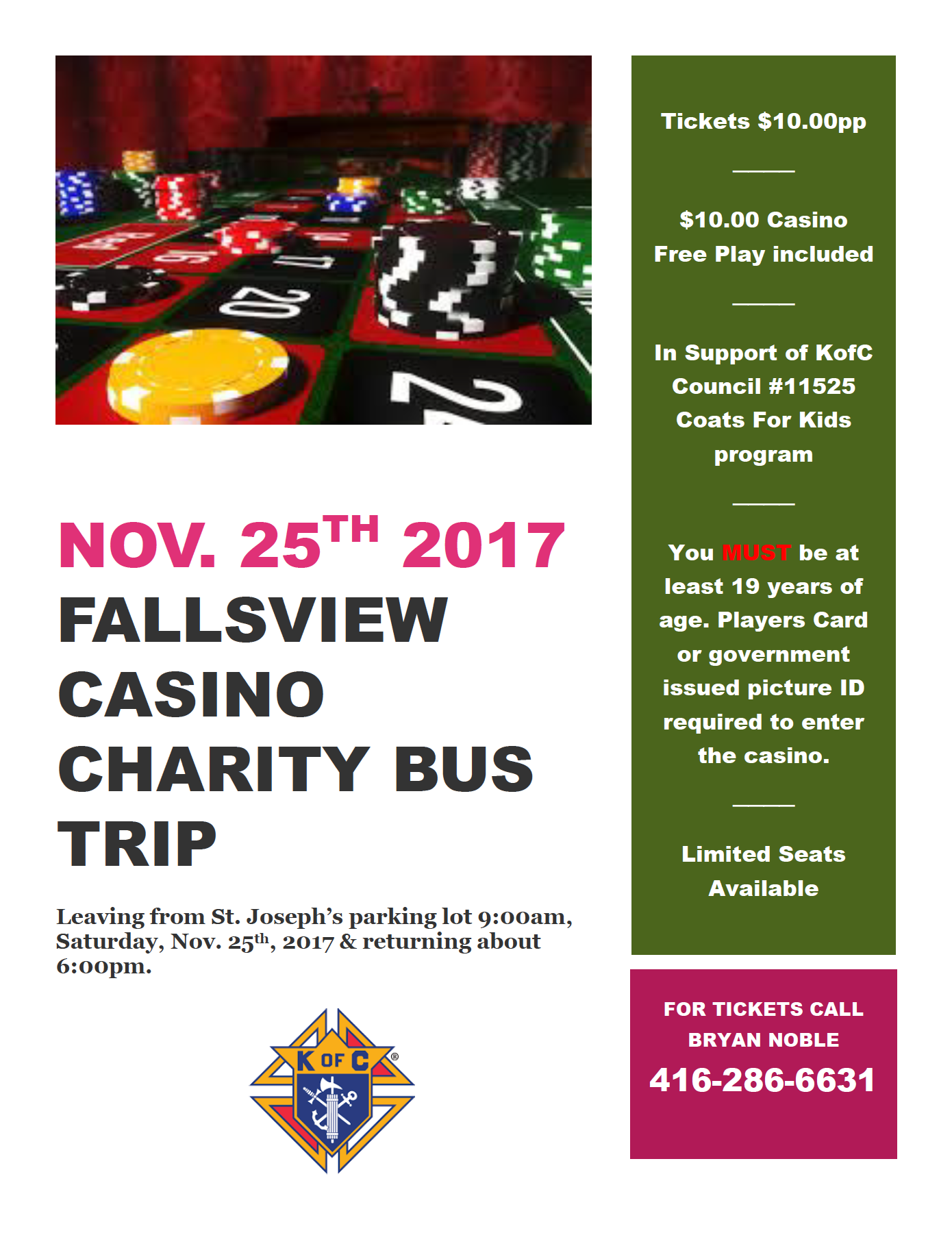 KOC Falls View Casino Charity Bus Trip