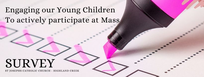 banner survey engaging young children at mass