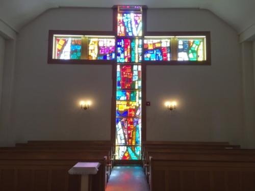 The current Church back wall - Stained Glass